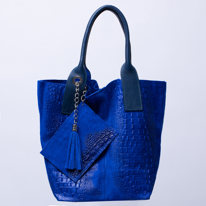 Geanta shopper din piele intoarsa naturala, albastru electric [0]