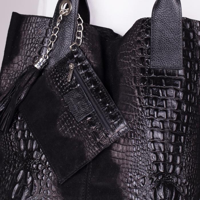 Geanta shopper neagra din piele intoarsa naturala [1]