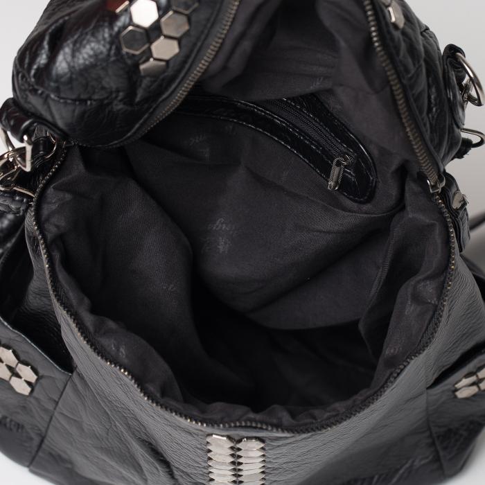 Geanta neagra tip rucsac, 2 in 1, cu tinte metalice [2]