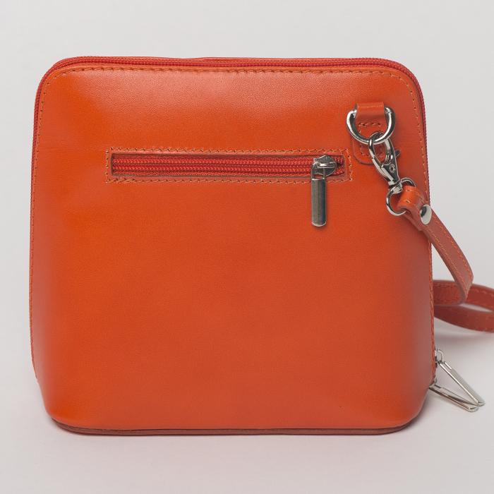 Geanta crossbody, portocalie, din piele naturala 1