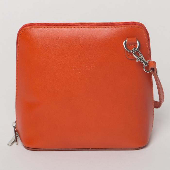 Geanta crossbody, portocalie, din piele naturala 0