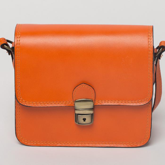 Geanta portocalie din piele tip postas 0