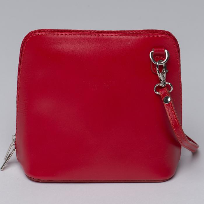 Geanta crossbody, rosie, din piele naturala 0