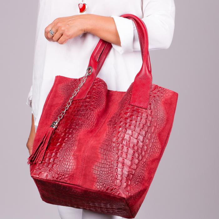 Geanta shopper rosie din piele intoarsa naturala [0]