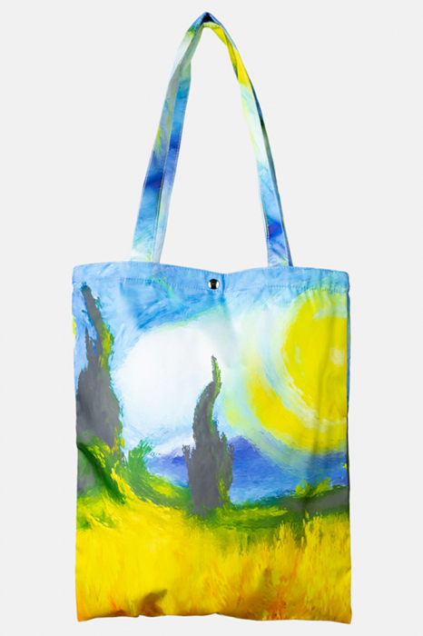 Geanta shopper din material textil, cu imprimeu inspirat dintr-o pictura a lui Vincent Van Gogh [0]