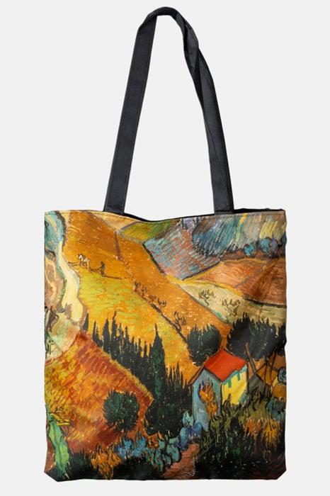 Geanta shopper din material textil, cu imprimeu inspirat dintr-o pictura cu lanuri a lui Van Gogh [0]