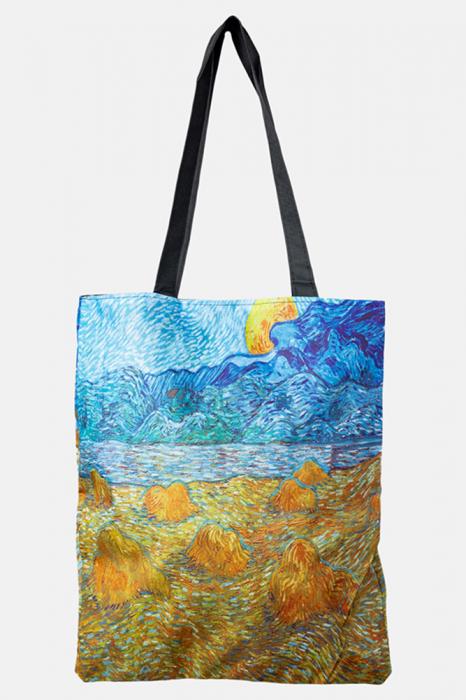 Geanta shopper din material textil, cu imprimeu inspirat dintr-o pictura cu lanuri muncite a lui Van Gogh [0]