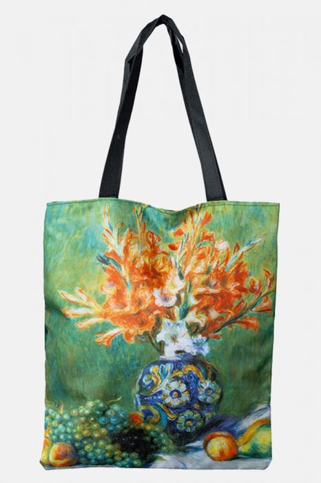 Geanta shopper din material textil, cu imprimeu inspirat dintr-o pictura cu natura statica [0]