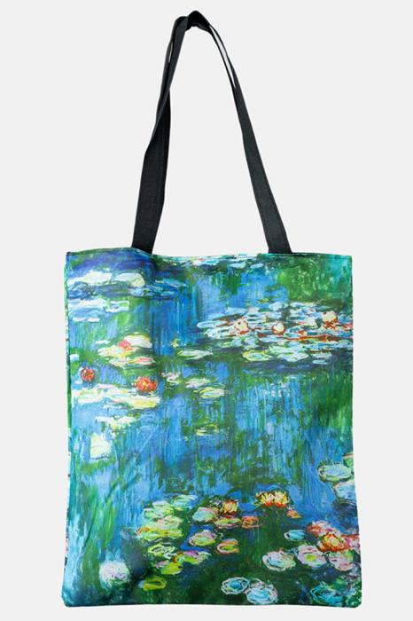 "Geanta shopper din material textil, cu imprimeu inspirat dintr-o pictura cu "" Nuferii"" de Claude Monet [0]"