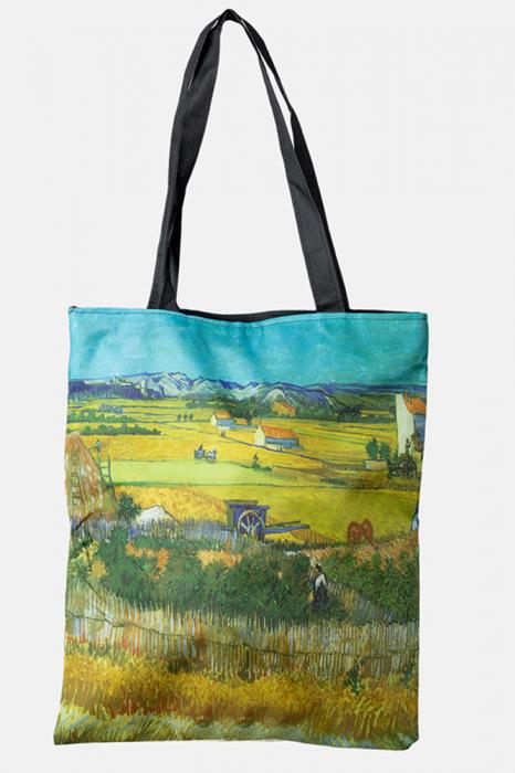 Geanta shopper din material textil, cu imprimeu inspirat dintr-o pictura cu peisaj campenesc [0]