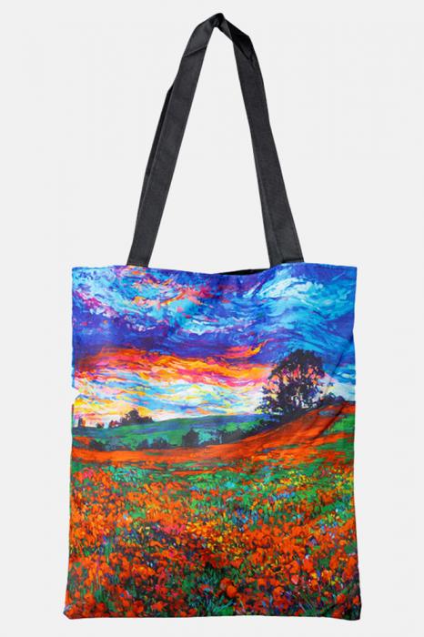 Geanta shopper din material textil, cu imprimeu inspirat dintr-o pictura cu peisaj cu maci [0]
