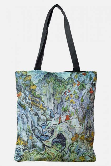 Geanta shopper din material textil, cu imprimeu inspirat dintr-o pictura impresionista [0]