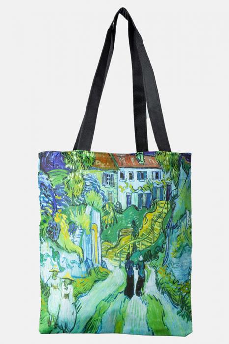 Geanta shopper din material textil, cu imprimeu inspirat dintr-o pictura impresionista a lui Van Gogh [0]
