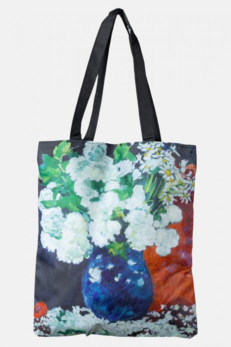 Geanta shopper din material textil, dupa o pictura cu flori albe in vaza [0]