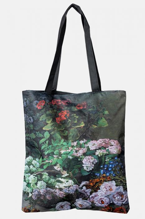 Geanta shopper din material textil, dupa o pictura cu flori de liliac [0]