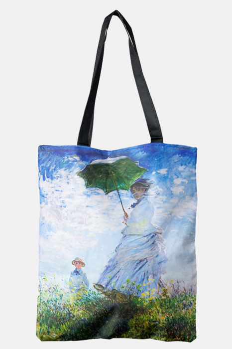 "Geanta shopper din material textil, imprimata cu reproducere dupa Claude Monet "" Femeia cu umberala de soare "" [0]"