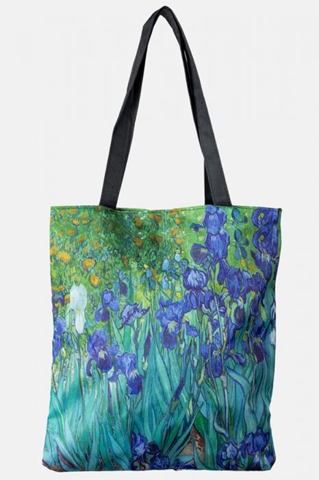 """Geanta shopper din material textil, imprimata cu reproducere dupa """" Irisi'' - de Van Gogh - Shopika [0]"""