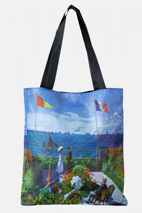 Geanta shopper din material textil, imprimata cu reproducere dupa un peisaj cu cafenea in port [0]