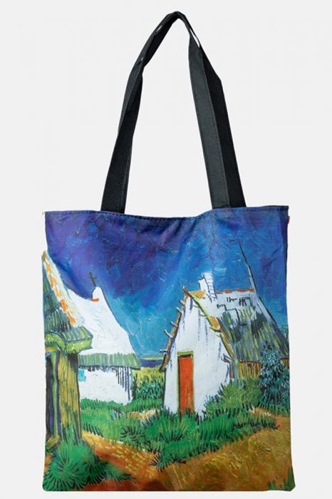 Geanta shopper din material textil, imprimata cu reproducere dupa un peisaj cu casute [0]