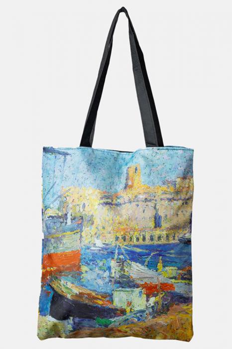 Geanta shopper din material textil, imprimata cu reproducere dupa un peisaj din port [0]