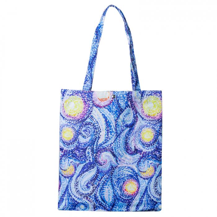 Geanta shopper din material textil, imprimeu abstract mov si galben [0]