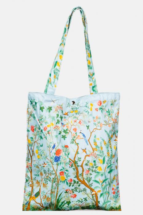 Geanta shopper din material textil satinat, cu imprimeu floral cu pasari [0]