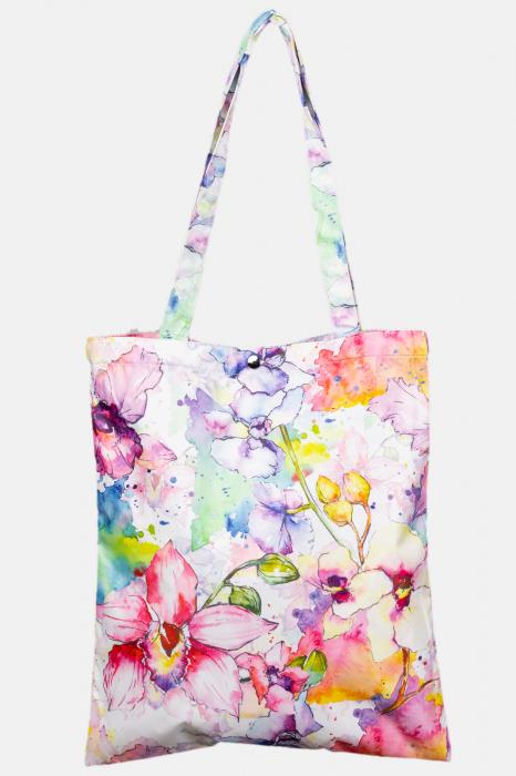 Geanta shopper din material textil satinat, cu imprimeu floral acuarela [0]