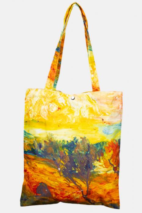 Geanta shopper din material textil satinat, cu imprimeu inspirat din pictura a lui Vincent Van Gogh [0]