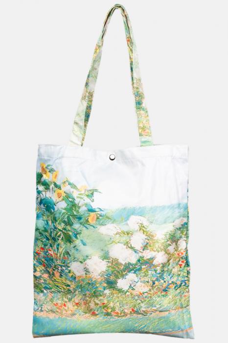 Geanta shopper din material textil satinat, cu imprimeu inspirat din pictura cu un pastel [0]