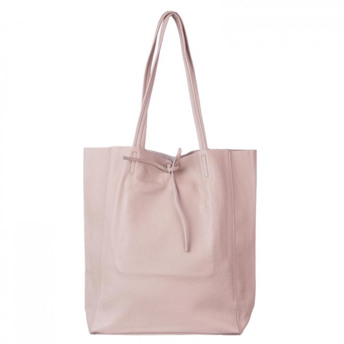 Geanta shopper roz prafuit din piele naturala [1]