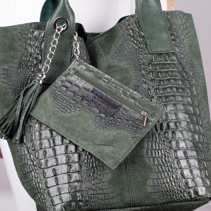 Geanta shopper verde din piele intoarsa naturala [1]