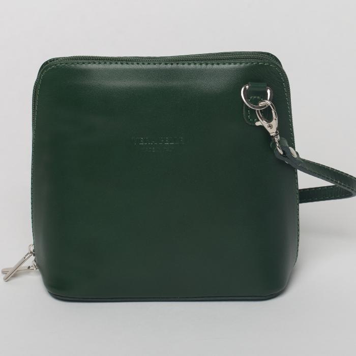 Geanta crossbody, verde inchis, din piele naturala 0