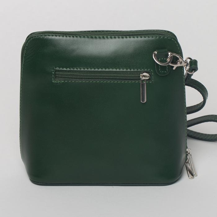 Geanta crossbody, verde inchis, din piele naturala 1
