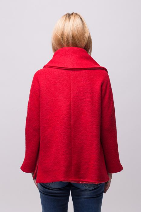 Haina rosie scurta lana cu guler inalt 3