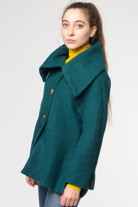 Haina verde smarald scurta lana cu guler inalt 1