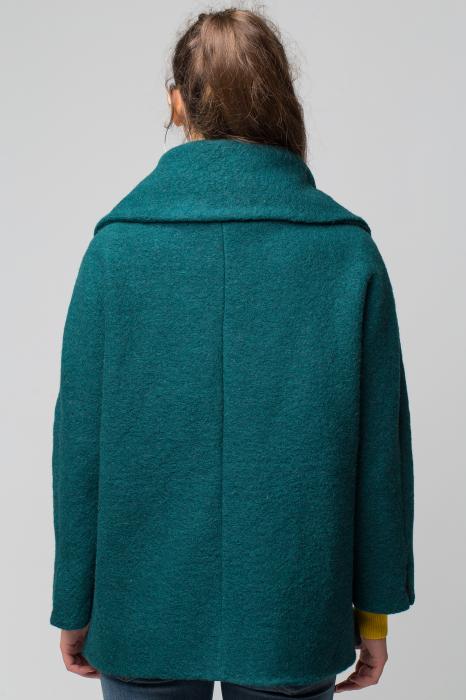 Haina verde smarald scurta lana cu guler inalt 2
