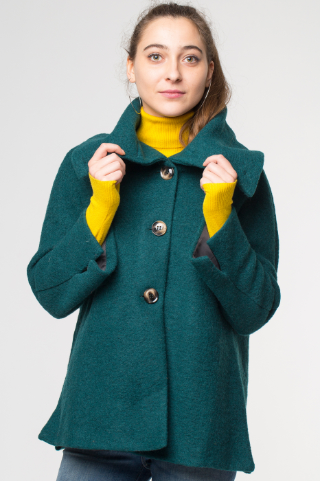 Haina verde smarald scurta lana cu guler inalt 0