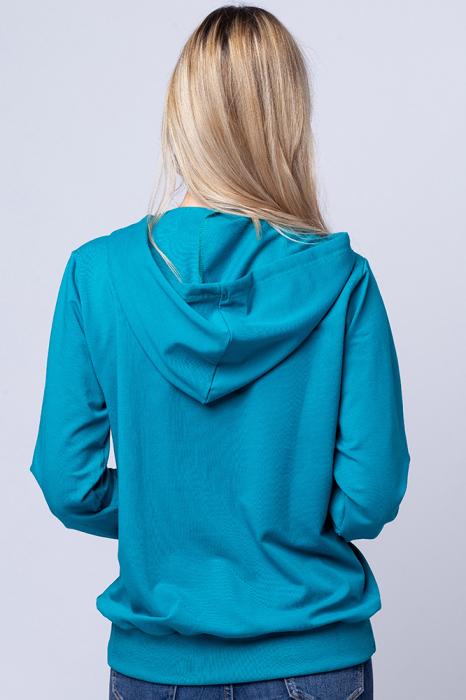 Hanorac cu gluga, din bumbac, turquoise 3