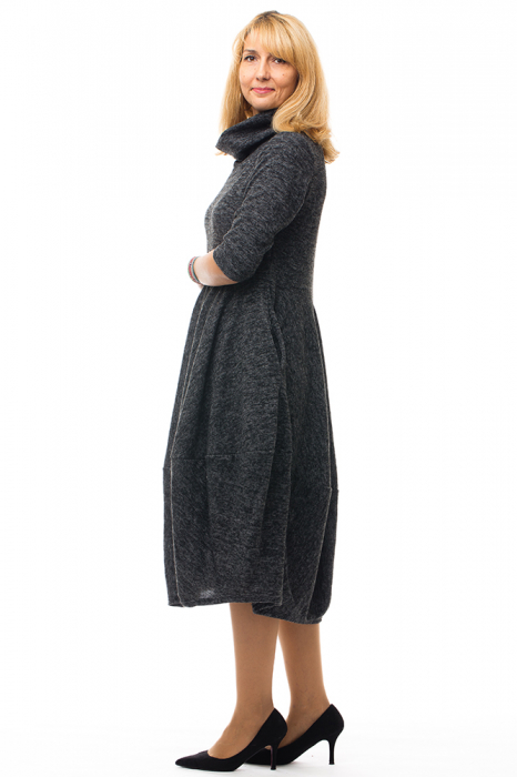 Rochie midi lalea din lana, gri inchis 1