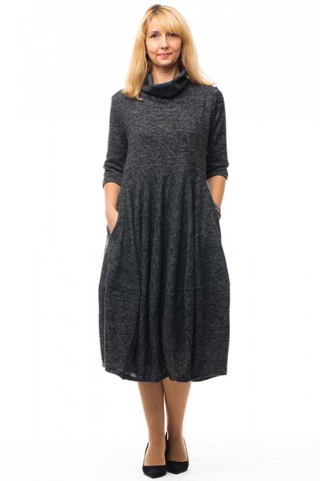 Rochie midi lalea din lana, gri inchis 0