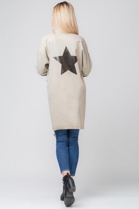 Jacheta bej inchis in colturi cu imprimeu stea pe spate 2