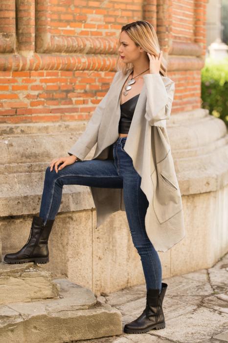 Jacheta gri inchis in colturi cu imprimeu stea pe spate 5