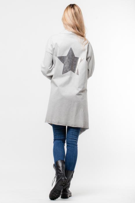 Jacheta gri inchis in colturi cu imprimeu stea pe spate 2