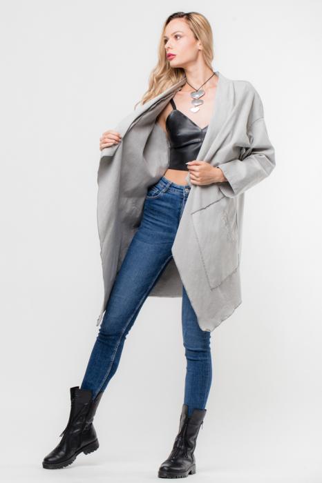 Jacheta gri inchis in colturi cu imprimeu stea pe spate 0