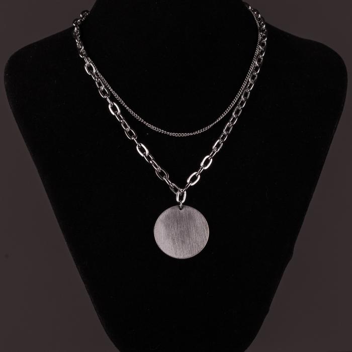 Lanturi cu medalion rotund argintiu 1