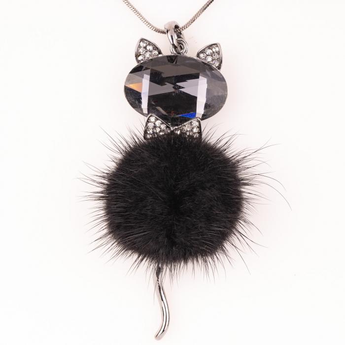 Lant cu pandantiv pisica cu puf negru 0