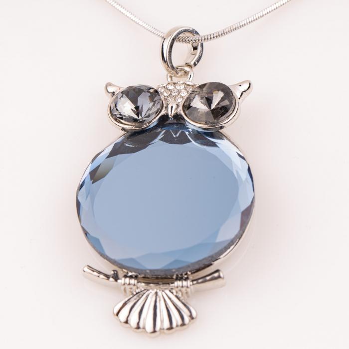 Lant metalic cu pandantiv bufnita cu fata din sticla albastra [0]