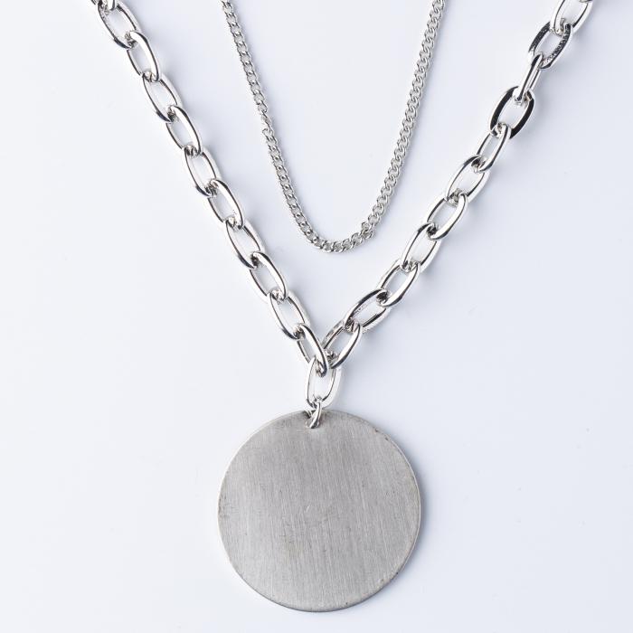 Lanturi cu medalion rotund argintiu 0
