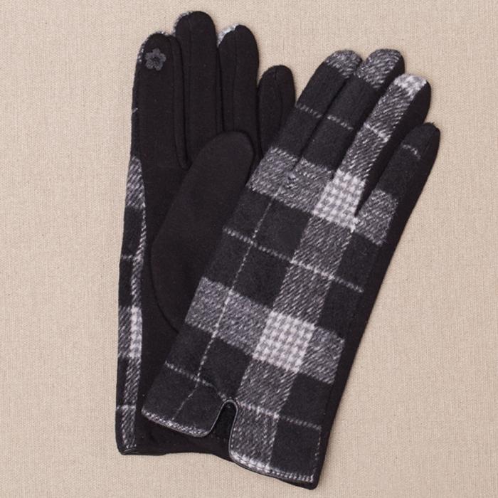Manusi dama,  textil cu fata ecosez predominant negru 0
