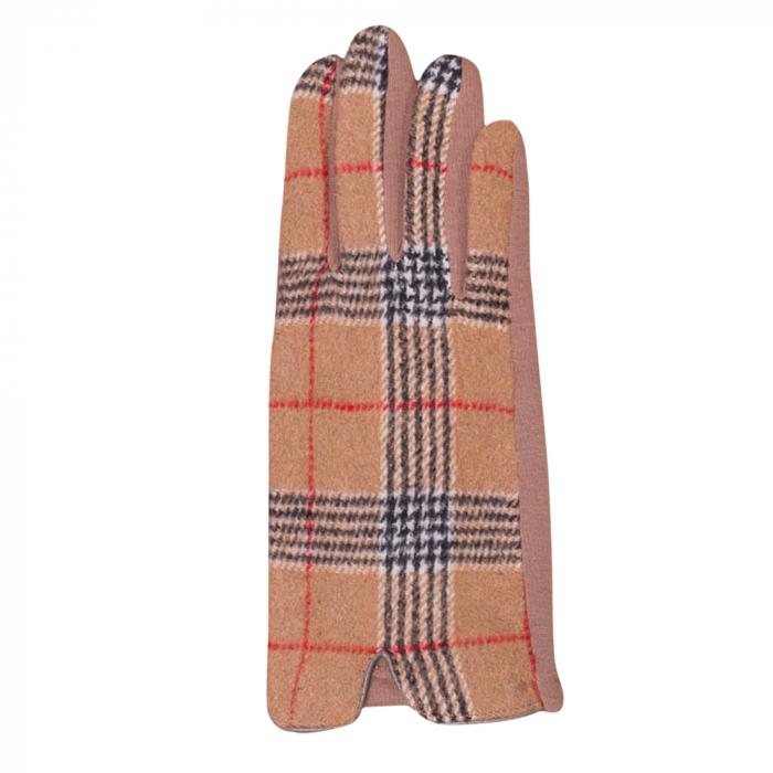Manusi dama, textil cu fata ecosez predominant bej 1
